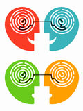 Understanding and misunderstanding. Two stylized human heads with the resolved and unresolved labyrinth. Vector available Stock Image
