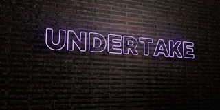 UNDERTAKE -Realistic Neon Sign on Brick Wall background - 3D rendered royalty free stock image Stock Images
