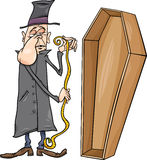 Undertaker with coffin cartoon illustration Stock Image