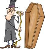 Undertaker with coffin cartoon illustration Stock Image