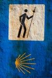 Underteckna av Caminoen de Santiago Royaltyfria Bilder