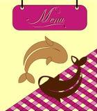 Underteckna den burgundy menycellen med fisken. Vektor Royaltyfri Fotografi
