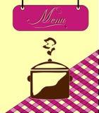 Underteckna den burgundy menycellen med krukan. Vektor Royaltyfria Foton