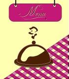 Underteckna den burgundy menycellen med maträtten. Vektor Arkivbilder