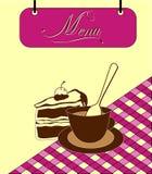 Underteckna den burgundy menycellen med tårtan och kupa. Vektor Arkivbild