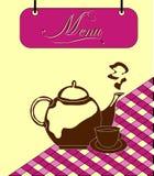 Underteckna den burgundy menycellen med teapoten. Vektor Fotografering för Bildbyråer