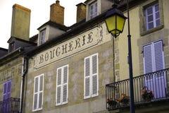 Underteckna för fransk butchery royaltyfria foton