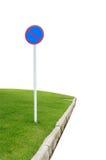 Underteckna inte och gräs isolerat på vit Arkivfoton