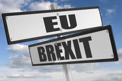 Underteckna med tecknet med brexit och EU på vit Royaltyfria Foton