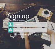 Underteckna medlemmen sammanfogar upp registreringskonto sänder begrepp Arkivfoto