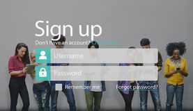 Underteckna medlemmen sammanfogar upp registreringskonto sänder begrepp Arkivbild