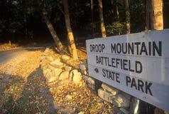 Underteckna på ingången av delstatsparken för slokande ställningbergslagfältet, inbördeskrigslagfältet, scenisk rutt 39, WV Fotografering för Bildbyråer
