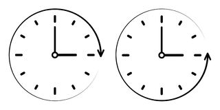 Underteckna symbolen passagetiden moturs, vektorklocka-, minut- och timmehänder begrepp av medurs, räknareclockwisek vektor illustrationer