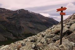 Underteckna in Torres del Paine Arkivfoto