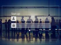 Underteckna upp begreppet för säkerhet för registreringslösenordavskildhet fotografering för bildbyråer