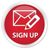 Underteckna upp (redigera postsymbolen), den högvärdiga röda runda knappen Royaltyfria Foton