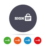 Underteckna upp teckensymbolen Registreringssymbol stock illustrationer