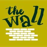 Underteckna väggen med bilden av tegelstenar vektor royaltyfri illustrationer