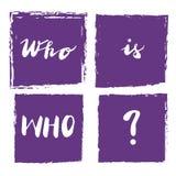 Underteckna vem är vem? med illustrationen vektor vektor illustrationer