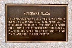 Underteckna veteranplazaen Waco Royaltyfria Bilder