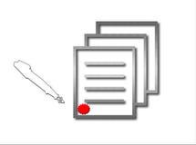 undertecknad förlaga som förseglas Arkivfoton