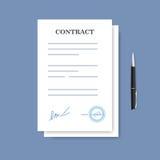Undertecknad pappers- avtalsavtalssymbol Överenskommelse och penna som isoleras på den blåa bakgrunden stock illustrationer