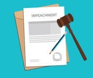 Undertecknande impeachmentbegreppsillustration med auktionsklubban och blyertspennan Arkivfoto