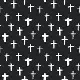 Undertecknar den arga för modellgrunge för symboler sömlösa drog kristna kors handen, klosterbroder symboler, illustration för ko royaltyfri illustrationer