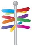 Undertecknar den färgrika pilen för riktningen illustrationen royaltyfri illustrationer