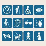 Undertecknar den färgrika symbolsuppsättningen för vektorn av tillträde för fysiskt rörelsehindrat folk Fotografering för Bildbyråer