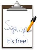 undertecknar den fria symbolspennan för clipboarden upp website Royaltyfri Foto