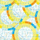 Undertecknar det födelse- astrologiska diagrammet för den sömlösa modellen, zodiak vektor Fotografering för Bildbyråer