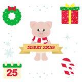 Undertecknar det gulliga svinet för vintertecknade filmen med halsduken och och jul julbeståndsdelar vektor illustrationer