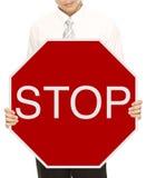Undertecknar det hållande stoppet för affärsmannen Fotografering för Bildbyråer