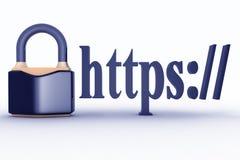 Undertecknar säker anslutning för HTTPS in webbläsareadress Arkivbilder
