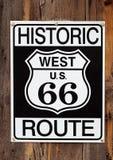 undertecknar tät route 66 upp Royaltyfri Fotografi