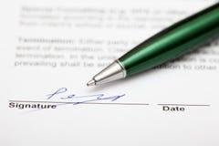 undertecknat avtal Arkivfoton