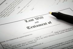 Underteckning sist skallr & testamentet arkivbild