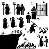 Undervärld Clipart för helvete för jäkeldemonSatan vektor illustrationer
