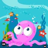 Undervattens- bläckfisk och fisk Arkivbild