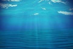 Undervattens- blå bakgrund i havet, hav, med volymljus framförande 3d Arkivfoto