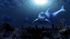 Undervattens- delfiner stock illustrationer