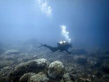 Undervattens- dykare i undervattens- värld Royaltyfri Foto