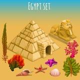 Undervattens- Egypten värld och pyramid Royaltyfria Bilder