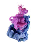 Undervattens- färgrika flytande Blå och magentafärgad rosa färgfärgsammansättning för Violet Royaltyfria Foton