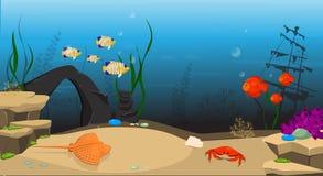 undervattens- för rev för korallfiskliggande tropiskt stock illustrationer