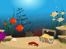 undervattens- för rev för korallfiskliggande tropiskt vektor illustrationer