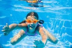 Undervattens- flicka Royaltyfria Foton