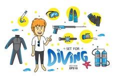 Undervattens- hav för dykningdykapparat Vektor Illustrationer