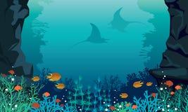 Undervattens- hav - fisk, stingrocka, korallrev royaltyfri illustrationer